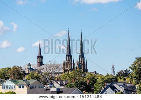 Old Church steeples in Charlottetown Prince Edward Island