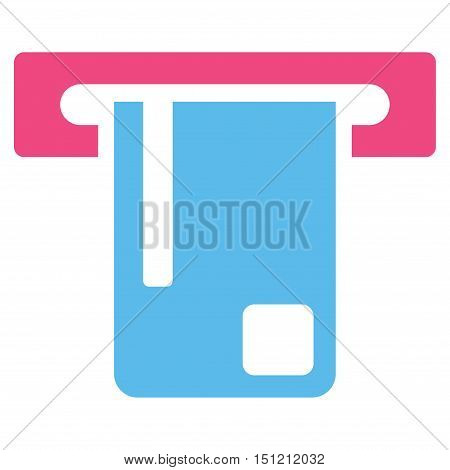 Bank ATM icon. Glyph style is bicolor flat iconic symbol with rounded angles, pink and blue colors, white background.