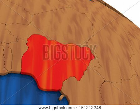 Nigeria On Wooden Globe