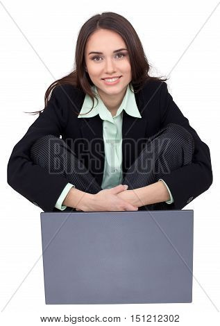 Businesswoman Sitting on Groun Cross- Legged with Laptop - Isolated