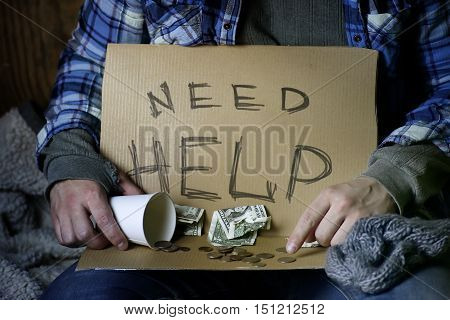 homeless man ask help concept of needed