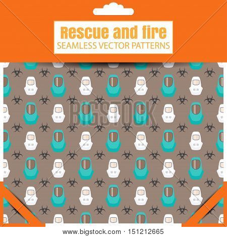 Seamless vector patterns with biohazard sign protective suit on the dark background in the package with shadow.