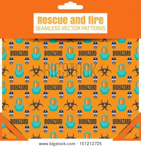 Seamless vector patterns with biohazard sign protective suit and text on the yellow background in the package with shadow.
