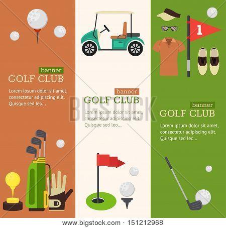 Golf Club Banner Vertical Set Flat Design Style. Vector illustration