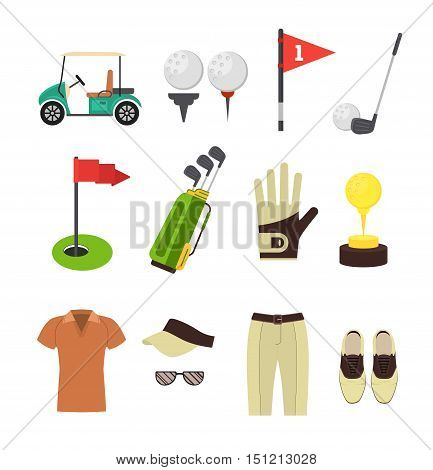 Golf Equipment Flat Design Style Set for Mobile and Web App. Vector illustration