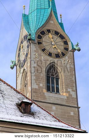 Clock of the Fraumunster cathedral in the city of Zurich, Switzerland, in wintertime.