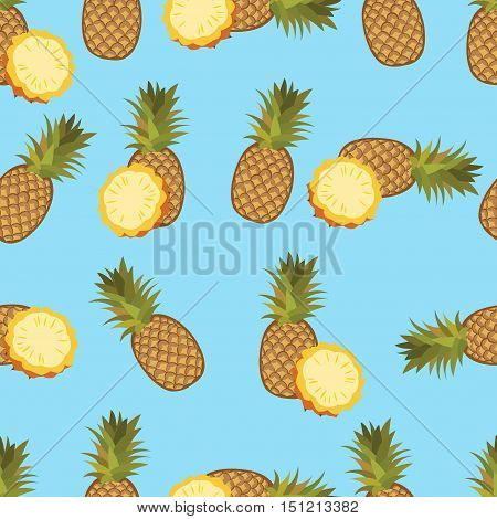 Pineapple seamless vector pattern. Pineapple on blue background.