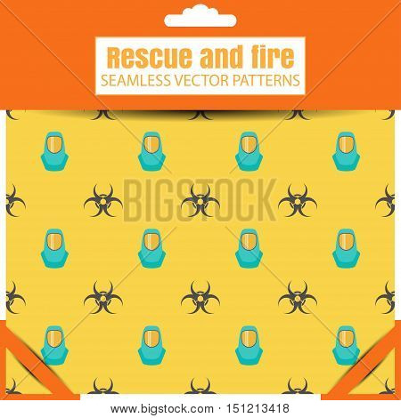 Seamless vector patterns with biohazard sign and protective suit in the package with shadow.