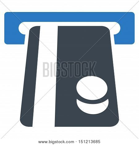 Automated Banking Service icon. Glyph style is bicolor flat iconic symbol with rounded angles smooth blue colors white background.