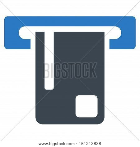Bank ATM icon. Glyph style is bicolor flat iconic symbol with rounded angles smooth blue colors white background.