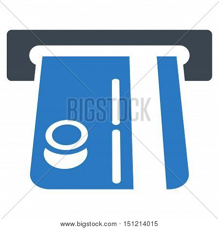 Bank Terminal icon. Glyph style is bicolor flat iconic symbol with rounded angles smooth blue colors white background.