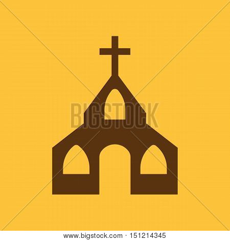 The church icon. Christian and god, catholic, faith symbol. Flat Vector illustration