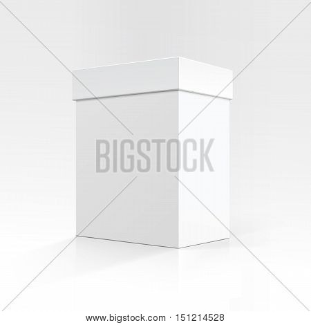 Vector Blank White Vertical Rectangular Carton box in Perspective for package design Close up Isolated on White Background
