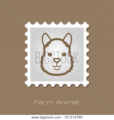 Lama alpaca guanaco outline stamp. Animal head vector symbol eps 10