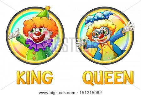 Clowns being king and queen  illustration