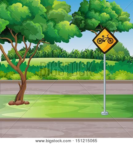 Park scene with bicycle lanes illustration