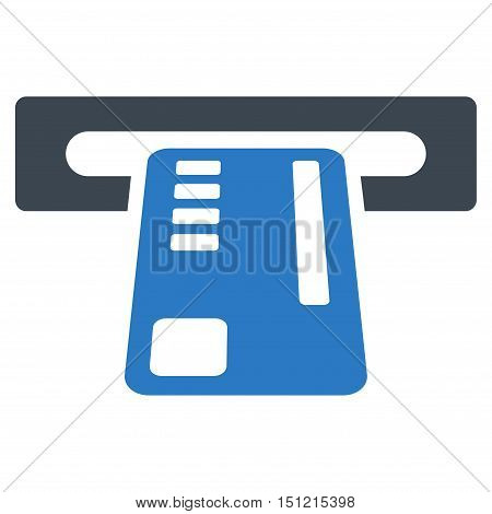 Ticket Machine icon. Glyph style is bicolor flat iconic symbol with rounded angles smooth blue colors white background.