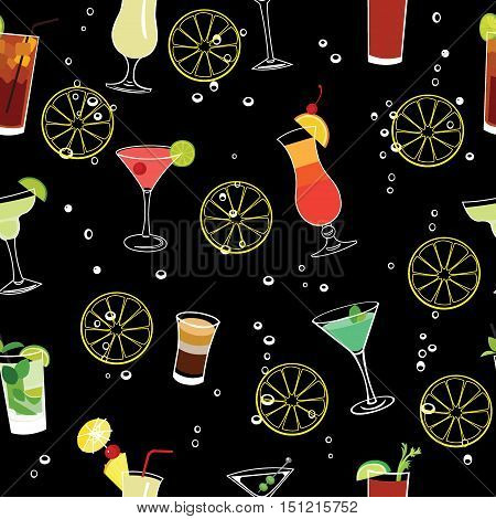 Cocktail and lemons party black seamless vector pattern.