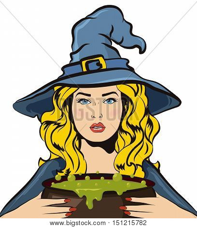 Halloween witch with bucket of boiling green liquid. Witch's brew. Vector halloween illustration isolated on white background.