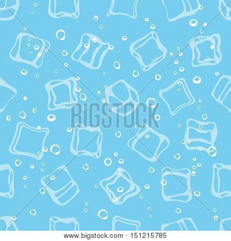 Ice cube babbles and water blue textile print seamless pattern. Mineral sparkling water blue background