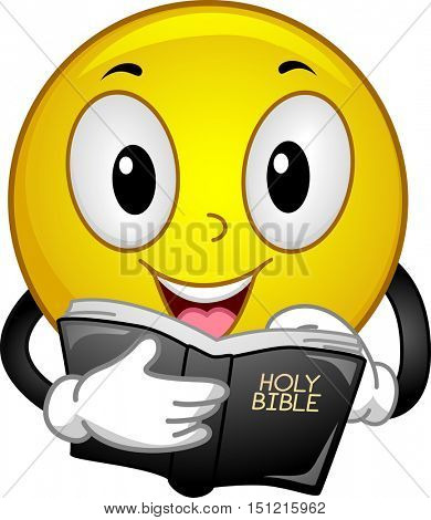 Mascot Illustration of a Happy Yellow Smiley Reading Passages from the Holy Bible