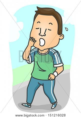 Fitness Illustration of a Sleepy Man in Training Clothes Yawning After a Tiring Work Out