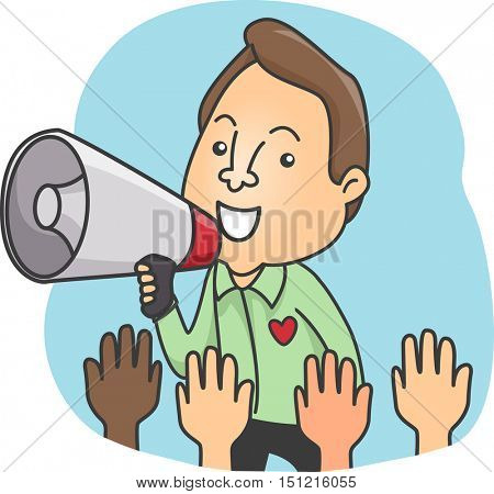 Illustration of a Man in Formal Clothing Using a Megaphone to Call on Volunteers