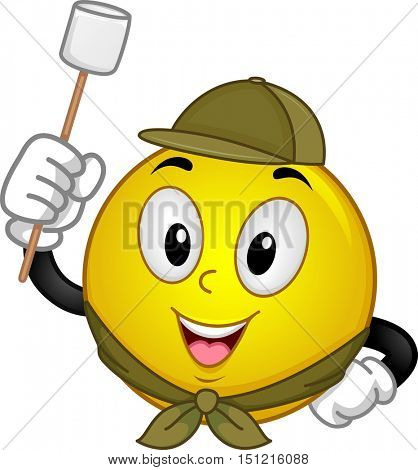 Mascot Illustration of a Happy Smiley in Scouting Uniform Holding a Marshmallow on a Stick