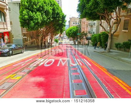 San Francisco California United States of America - May 04 2016: typical San Francisco street with cable car tracks California