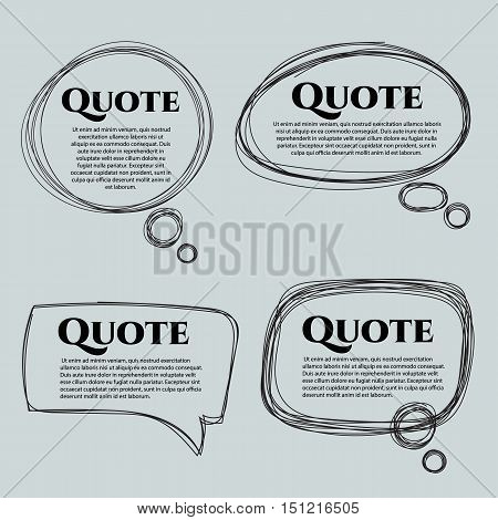 Set of vector scribble hand drawn quote boxes with text isolated. Quote, commas, message, quote blank, template. Quote bubble. Quote form. Bubble comic.