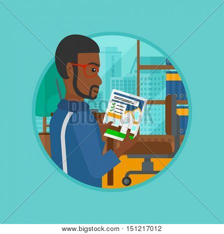 African-american man looking at house on a digital tablet screen. Man standing in office and looking for house on tablet computer. Vector flat design illustration in the circle isolated on background.