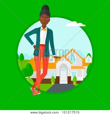 An african-american female real estate agent standing near the house. Young real estate agent leaning on the house and offering it. Vector flat design illustration in the circle isolated on background