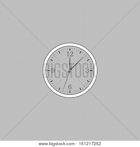 Time Simple line vector button. Thin line illustration icon. White outline symbol on grey background