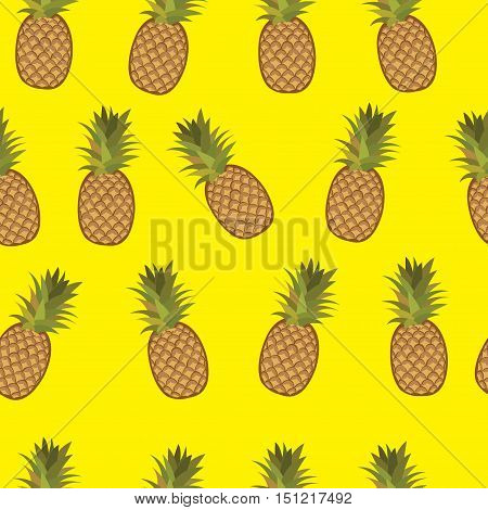 Yellow pineapple seamless vector pattern. Pineapple yellow seamless background.
