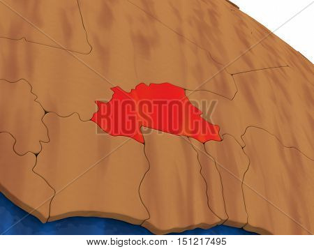 Burkina Faso On Wooden Globe