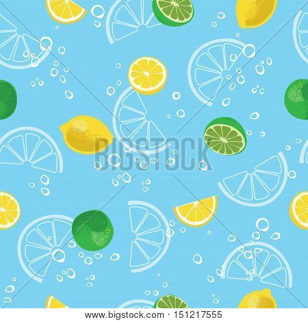 Lemon and lime lemonade seamless vector pattern. Lemonade blue seamless background.
