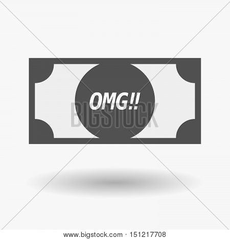 Isolated Bank Note Icon With    The Text Omg!!