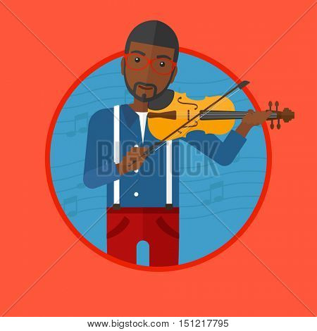African-american man playing violin. Violinist playing classical music on violin. Man with violin on a background with music notes. Vector flat design illustration in the circle isolated on background