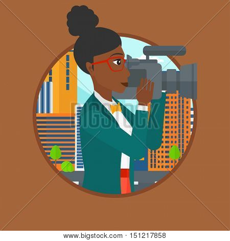 African-american cameraman looking through movie camera. Woman with professional video camera in the city. Woman shooting outdoor. Vector flat design illustration in the circle isolated on background.
