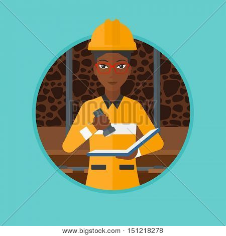 An african-american miner checking documents with the flashlight. Mine worker in hard hat. Miner in the coal mine. Vector flat design illustration in the circle isolated on background.
