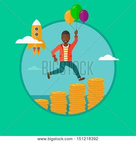 African-american man with balloons flying over gold coins and a business start up rocket flying nearby. Business start up concept. Vector flat design illustration in the circle isolated on background.