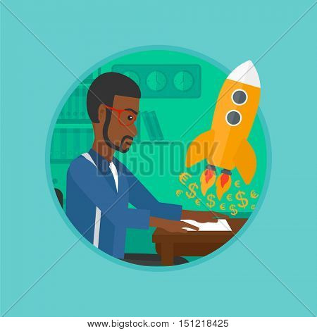 African-american businessman sitting at the table and looking at a business start up rocket taking off. Business start up concept. Vector flat design illustration in the circle isolated on background.