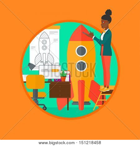 An african-american young woman engeneering a rocket. Woman working on the startup of a new business. Business start up concept. Vector flat design illustration in the circle isolated on background.