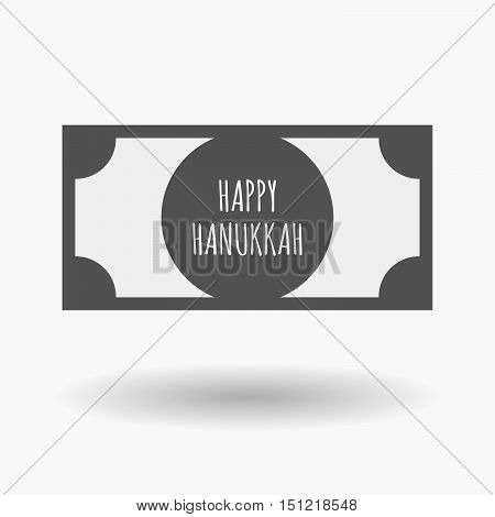 Isolated Bank Note Icon With    The Text Happy Hanukkah
