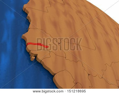 Gambia On Wooden Globe