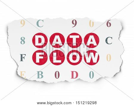 Information concept: Painted red text Data Flow on Torn Paper background with  Hexadecimal Code