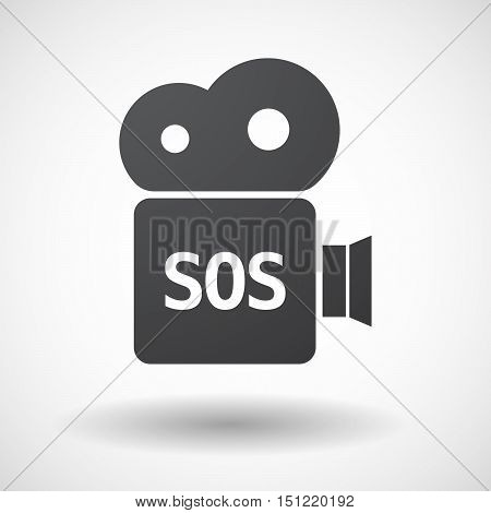 Isolated Film Camera Icon With    The Text Sos