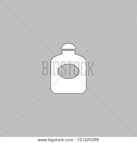 perfume Simple line vector button. Thin line illustration icon. White outline symbol on grey background