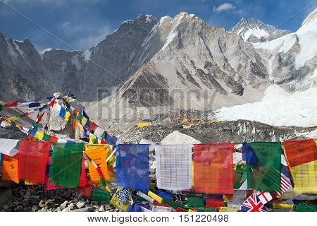 View from Mount Everest base camp tents and prayer flags sagarmatha national park trek to Everest base camp - Nepal