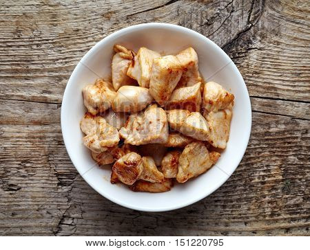 Bowl Of Grilled Chicken Meat, From Above